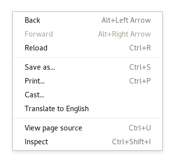 right click menu